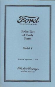 1923 FORD MODEL T BODY PARTS PRICE LIST