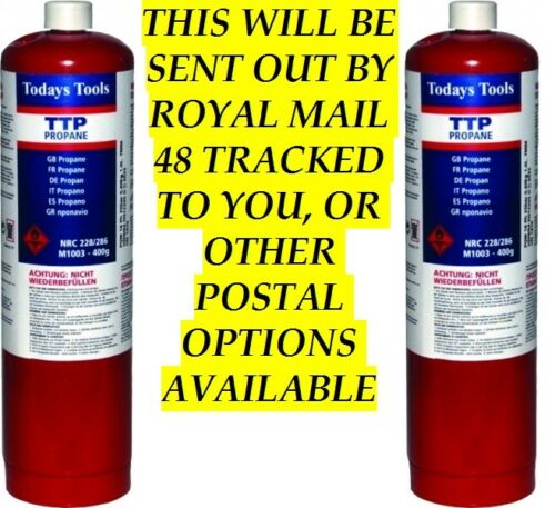 PROPANE Gas 400g Disposable Gas Bottles x 2 UK SELLER TRACKED ROYAL MAIL 48