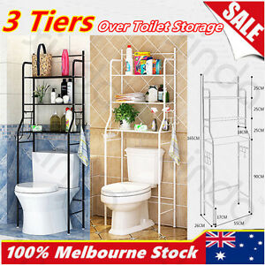 Image is loading Over-Toilet-Bathroom-Laundry-Washing-Machine-Storage-Rack-  sc 1 st  eBay & Over Toilet Bathroom Laundry Washing Machine Storage Rack Shelf Unit ...