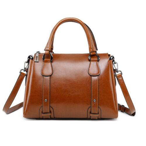 Women/'s Hi-Q Genuine Leather Ladies Shoulder Bag Embossed Handbag Purse Cowhide