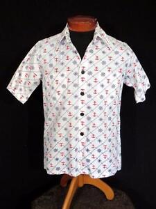 VERY-RARE-1960-039-S-WHITE-RAYON-COTTON-BLEND-NAUTICAL-PRINT-SHIRT-SIZE-MEDIUM