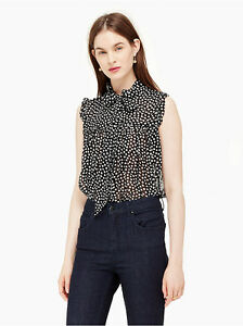 Kate-Spade-New-York-Spot-Chiffon-Ruffle-Top-Small-BRAND-NEW-WITH-TAGS
