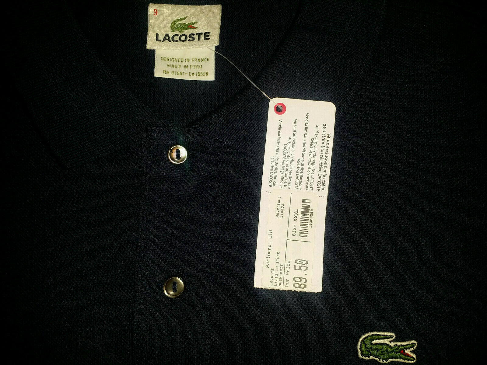NEW Mens Lacoste L1212 Pique Polo Shirt Navy