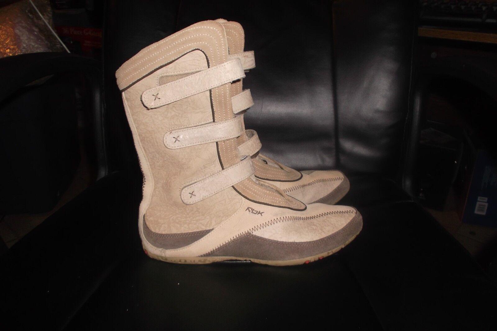 Reebok Womens Coyote Leather KOZAKI Boots WHITE HEAT MID sz  7.5 velcro