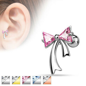 Skull CZ 14K Gold Plated Surgical Steel Helix Tragus Cartilage Bar Stud Earring