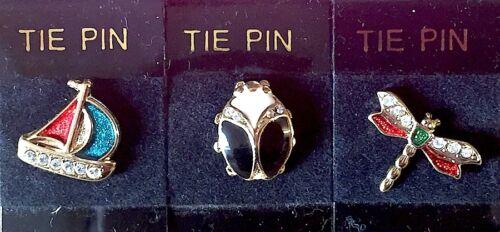 Vintage Enamel /& Diamante Tie Pin Choice of 3