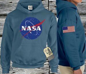NASA Hoodie USA Drapeau Américain Patriotique à Capuche Pull Sweat Col Indigo
