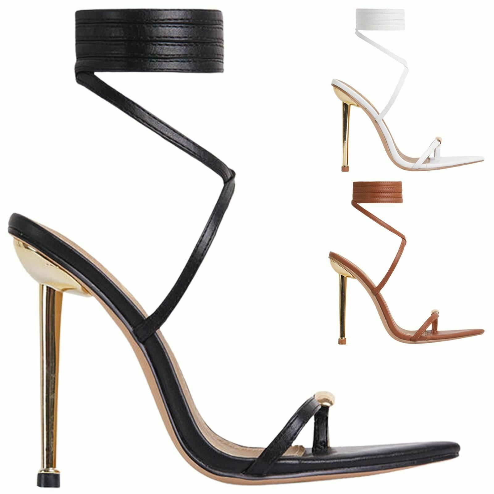 Strappy Lace Up Stiletto Heels