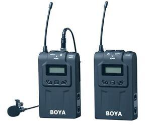 BOYA-BY-WM6-Lavalier-Clip-Wireless-Microphone-System-Mic-UHF-with-XLR-adapter-UK