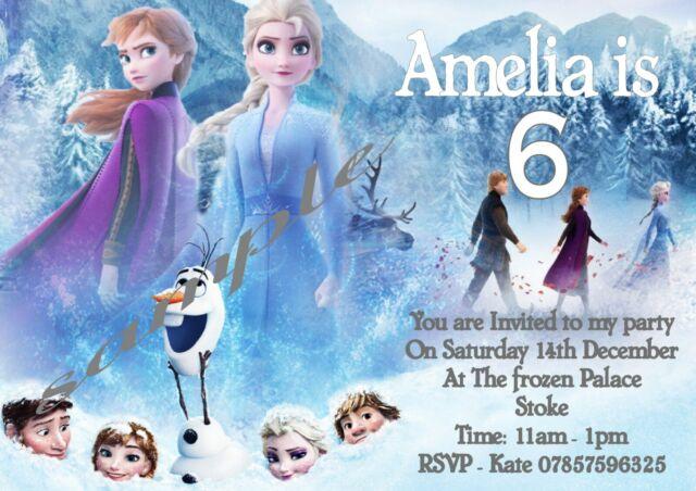 Pack of 10 Elsa Anna kids children birthday party INVITATIONS 2 #2 FROZEN