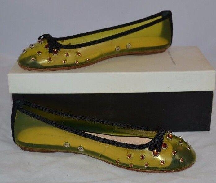 MARC JACOBS ITALIAN rose jaune Orange VINYL BALLET FLATS JELLY chaussures 683167 NEW