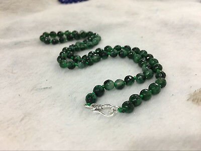 Fine 2x4mm Emerald Green Faceted Roundel Gems Beads Necklace Silver Clasp AA
