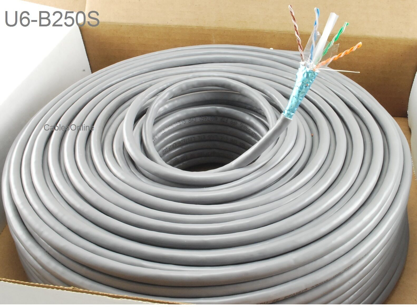 250ft CablesOnline Cat6e Shielded Rj45 FTP Solid Copper Grey ...