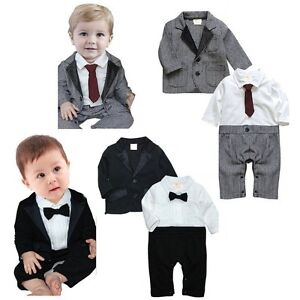 Baby-Boy-Wedding-Christening-Dressy-Party-Tuxedo-Suit-Clothes-Outfit-Jacket-Set