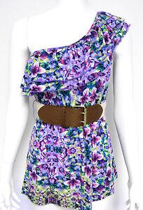 Self-Esteem-Junior-LARGE-Purple-Floral-Belted-One-Shoulder-Jersey-Top-NWOT