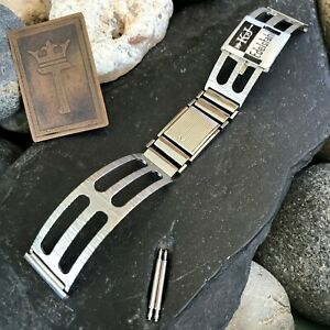 Rare-19mm-Rally-Cuff-Stainless-Steel-Germany-nos-1960s-Vintage-Watch-Band