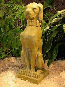 Cast Stone Cement Hound Dog Gargoyle Outdoor Garden Statue 22\