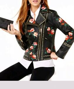 best website new arrival newest Details about Anna Sui Floral Rose Embroidered Faux Leather Jacket with  Studs (petite Small)