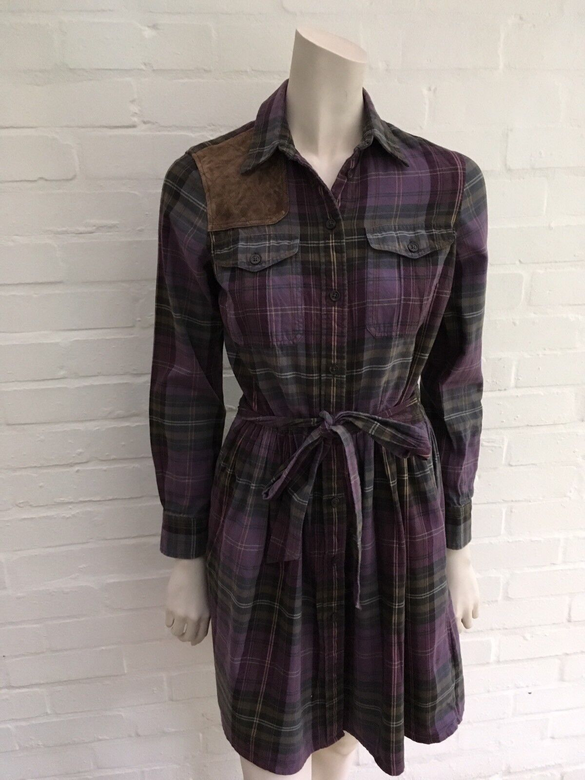 Ralph Lauren Rugby Purple Plaid Suede Leather Insert Dress Size US 2 XS