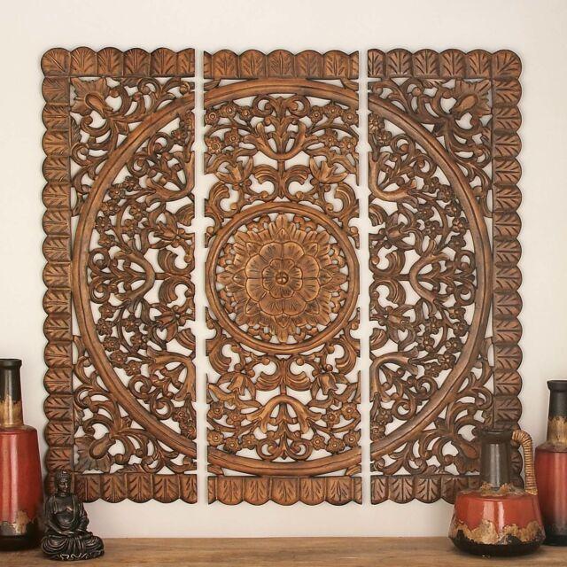 Large 3-piece Wood Carved Panel Wall Art Sculpture Set Floral ...