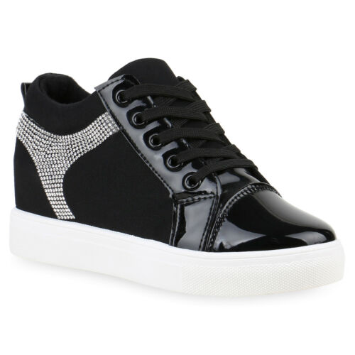 Sneaker-Wedges Damen Glitzer Sneakers Turnschuhe Keil Absatz 812556 Trendy