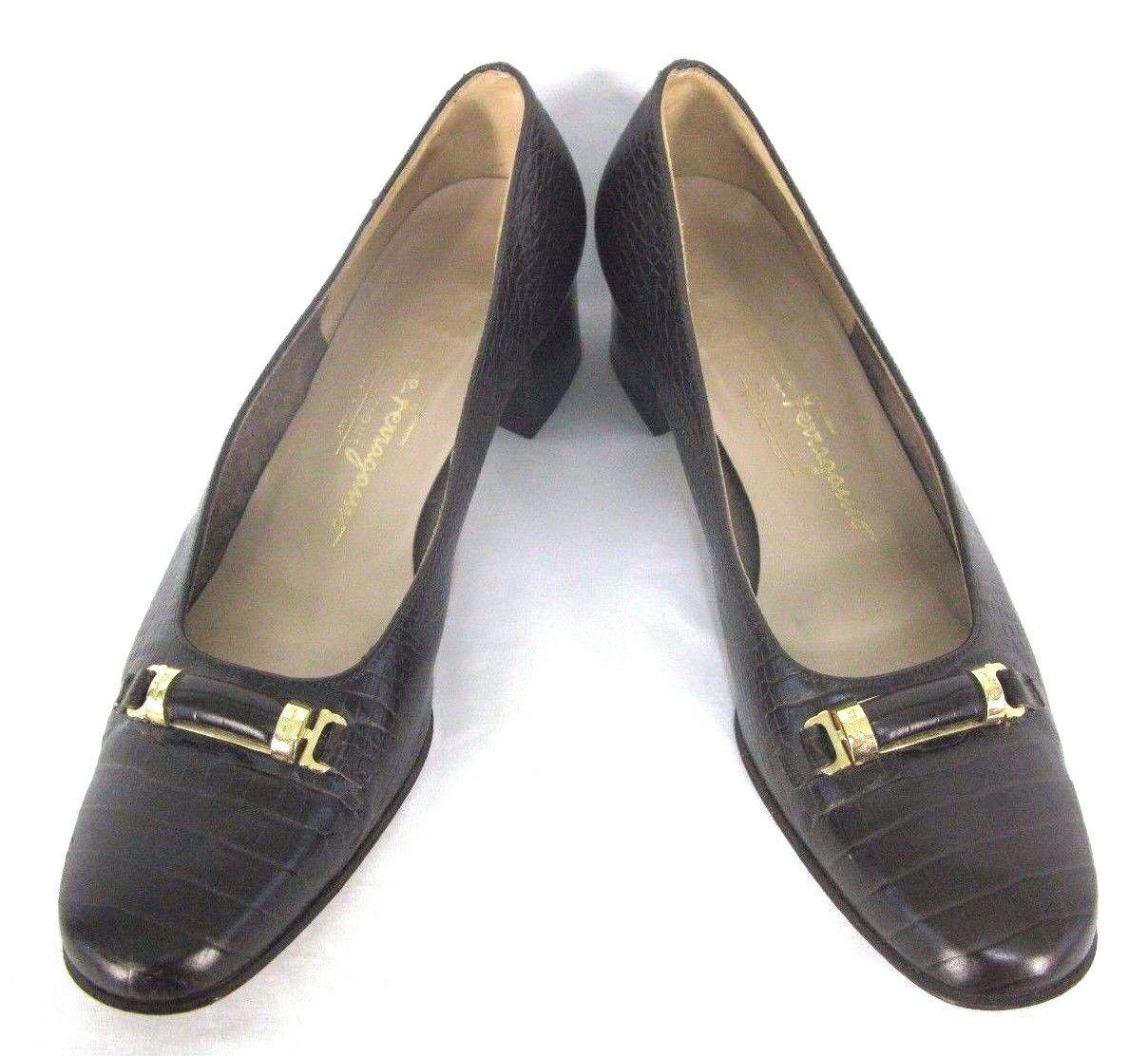 Salvatore Ferragamo schuhe Sz 8.5 AA braun Leather Croc Embossed Pump 1.75  Heel