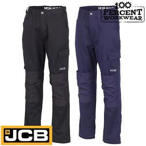 JCB-Work-Wear-Essential-Cargo-Combat-Trousers-Pants-Polycotton-Knee-Pad-Pockets