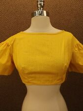 NOS Vtg 60s 70s New Orange Felt Dotted Midriff Cropped Top M Hippy Go-Go Gypsy