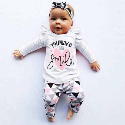 UK 2PC Newborn Toddler Infant Baby Girls Print T Shirt Tops Pants Outfits Set VV