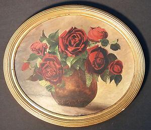 Originale-vecchio-Rose-vita-ancora-im-ovale-Struttura-in-legno-Timbro-HERMANN