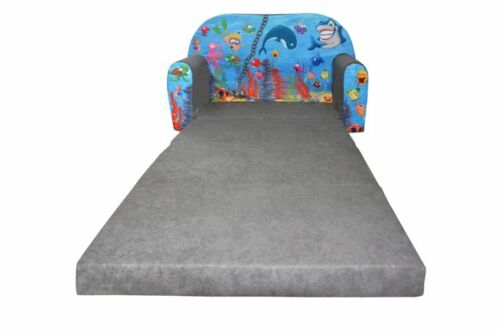 Kindersofa Hai Grau Ocean II Sofa Kinderzimmersofa zum Aufklappen Bettfunktion