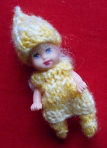 "Doll Clothes yellow 3 pc Outfit for tiny baby  Krissy ooak 2.5"" Euro Style Knits"
