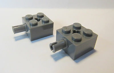 Lego Dark Bluish Gray Brick Modified 2 x 2 with Grooves /& Axle Hole Part Lot X50
