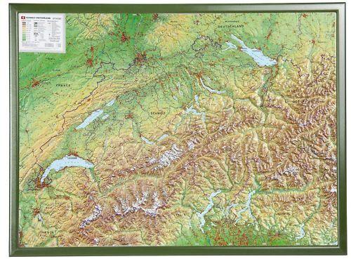 3d Carte Du Relief Suisse avec Cadre de Bois 77x57cm #100564r