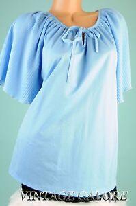 VTG-Blue-diamond-pleat-slouch-top-evening-cocktail-party-blouse-shirt-Sz-M-L