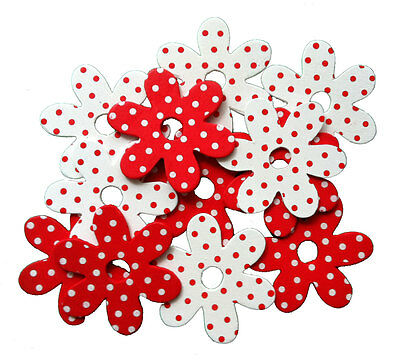 Blumen aus Holz gepunktet 10 Stück Streudeko rot weiß Tischdekoration Fädeln
