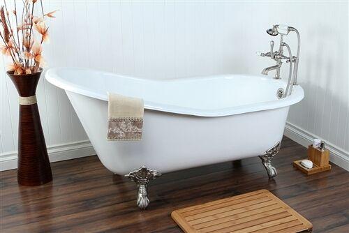 Kingston Brass VCT7D653129B1 Cast Iron Bathtub With Chrome Legs | EBay