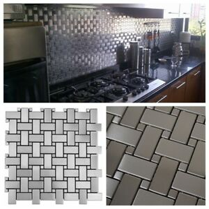 Basket Weave Pattern Stainless Steel Metal Mosaic Tile For Kitchen Backsplash