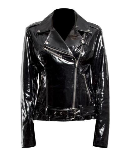 Women Gothic Moto Biker Jacket PVC Vinyl Punk Rocker Motorcycle Jacket