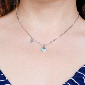 Halskette-mit-Anhaenger-Stern-Kugel-Blau-Sterling-Silber-925-Tropfen