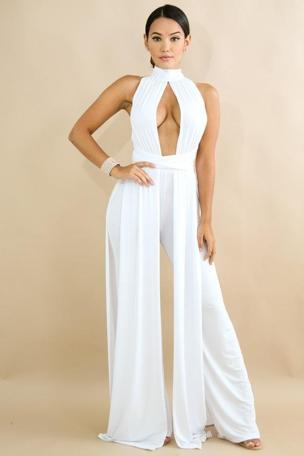 Draped Jumpsuit White FAST SHIPPING FROM FLORIDA