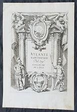 1740 Guillaume Delisle Original Antique Atlas Title Page For Atlante Novissimo