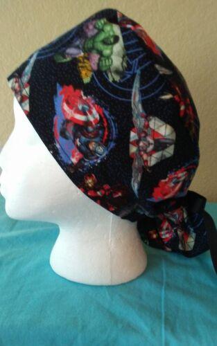 Avengers Dots Ponytail Women/'s Surgical Scrub Hat//Cap Handmade
