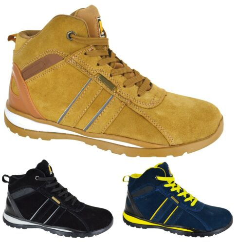 LIGHTWEIGHT MENS STEEL TOE SAFETY CAP WORK BOOTS TRAINERS HI TOP WORK SHOES SIZE