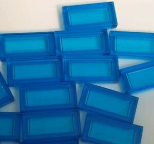 100 ×LEGO Tile plate smooth 1x2 with Groove trans dark blue #35386 NEW