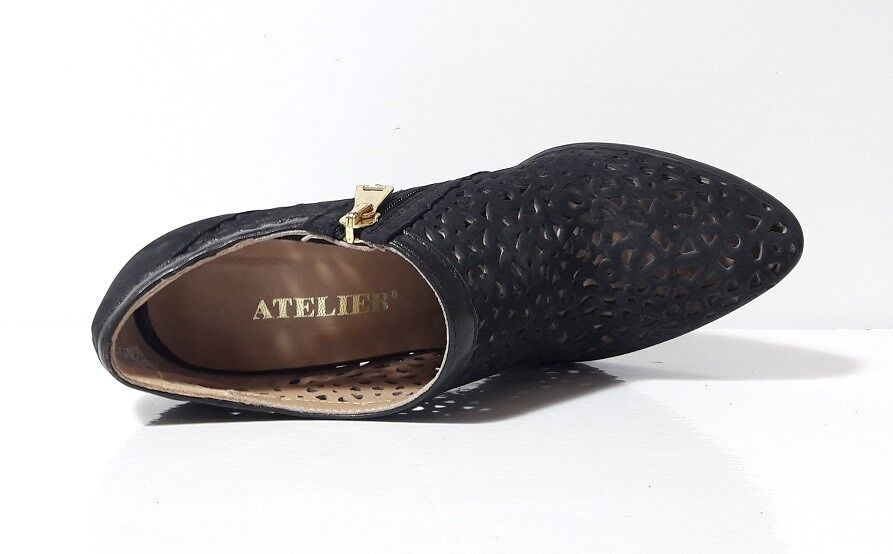 Schuhe DECOLTE Damens ATELIER CAMOSCIO NERO TRAFORATE TACCO ALTO GOMMA CERNIERA GOMMA ALTO e7ff94