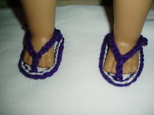 1-pair-Flip-Flops-Sandals-18-034-doll-clothes-fits-American-Girl-White-Purple