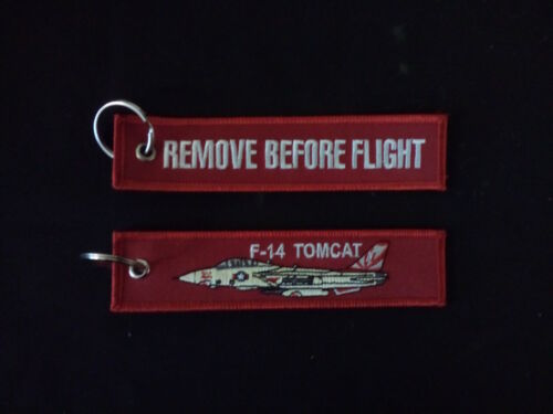 Remove Before Flight on reverse Cloth Keyring F-14 Tomcat on front