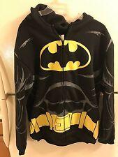 DC COMICS BATMAN ZIP UP HOODIE SIZE M, BLACK, HOOD HAS EARS