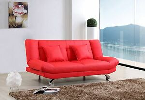 RED-Leather-Sofa-Bed-Only-189-2-Free-Cushions-FREE-DELIVERY